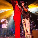 Angelo Moore (L) and Dre Gipson (R) of Fishbone performs June 23, 2012 at the Santa Cruz Civic Auditorium in Santa Cruz, California
