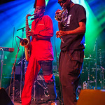 "Angelo Moore (R) and ""Dirty Walt"" Kibby (R) of Fishbone performs June 23, 2012 at the Santa Cruz Civic Auditorium in Santa Cruz, California"