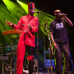 "Angelo Moore (L) ""Dirty Walt"" Kibby (R) of Fishbone performs June 23, 2012 at the Santa Cruz Civic Auditorium in Santa Cruz, California"